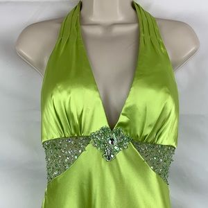 Miri Lee lime satin prom gown with crystal details
